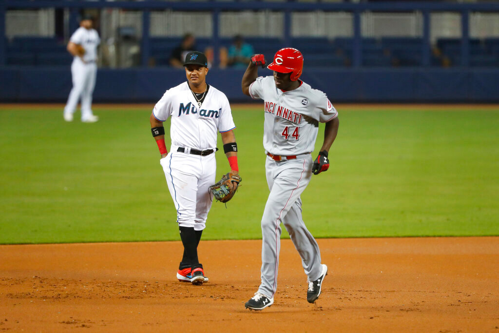 new product 9fee2 c98b6 Aquino's 13th HR in month ties rookie mark, Reds top Marlins ...
