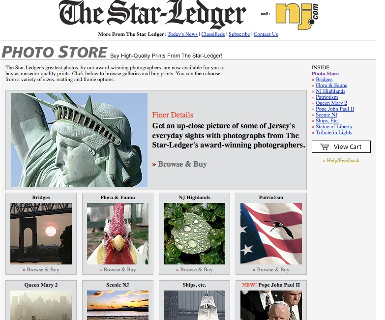"The Akron Star Ledger sells ""art"" photos from its photographers."