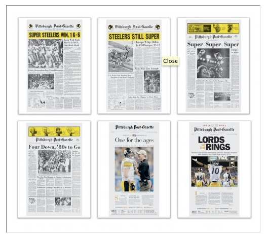 PGStore turns front page coverage of famous events into posers. The front page from day the Pirates won the World Series is selling  out now that the event is approaching a major anniversary.