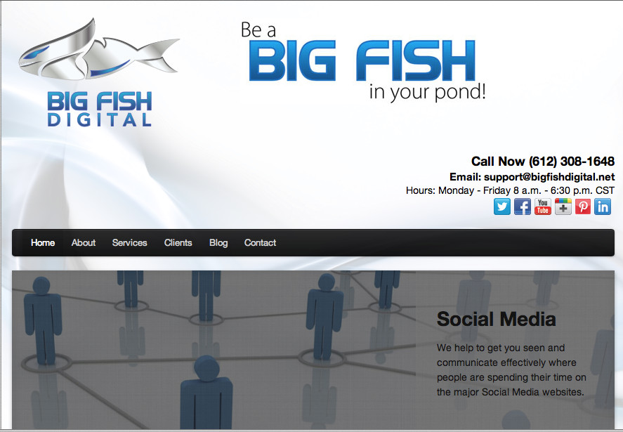 Big Fish Digital is a separate brand. Click to enlarge these screen shots as you tour the agency here.