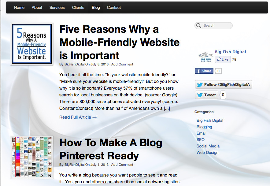 The Big Fish blog on their own site shows their digital and content marketing chops.