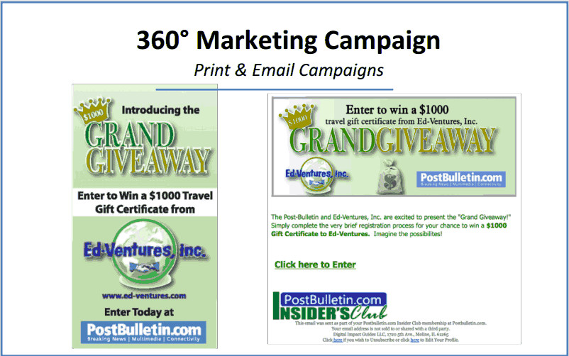 Examples of promotions - Click to enlarge.