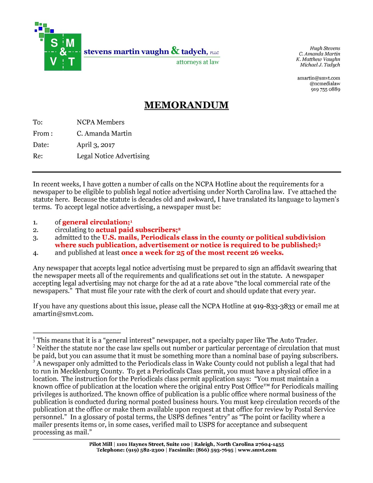 Memo re. public notices