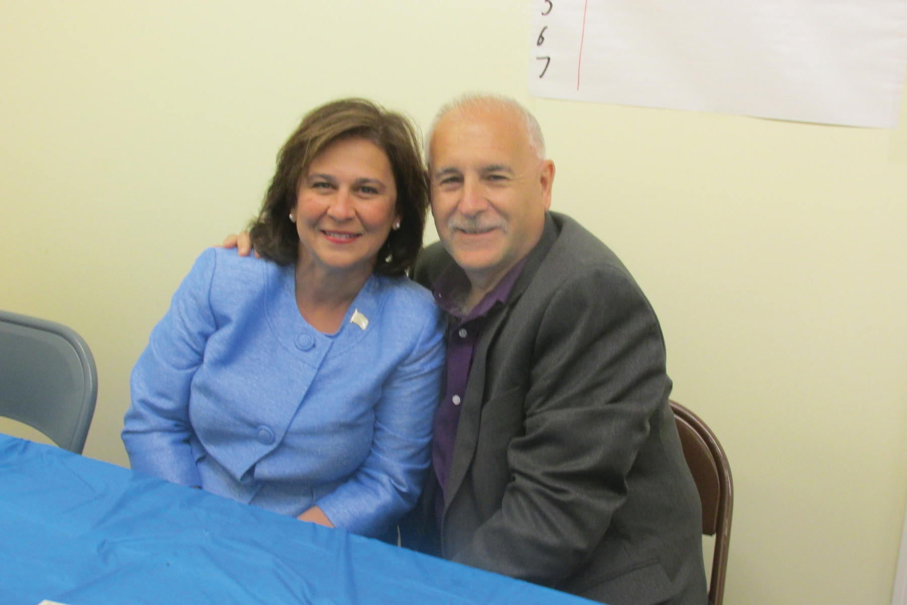 LINKED LEADERS: Secretary of State Nellie Gorbea was among the many top-ranking Democrats who took part in Mayor Joseph Polisena's special luncheon last Thursday in Johnston.