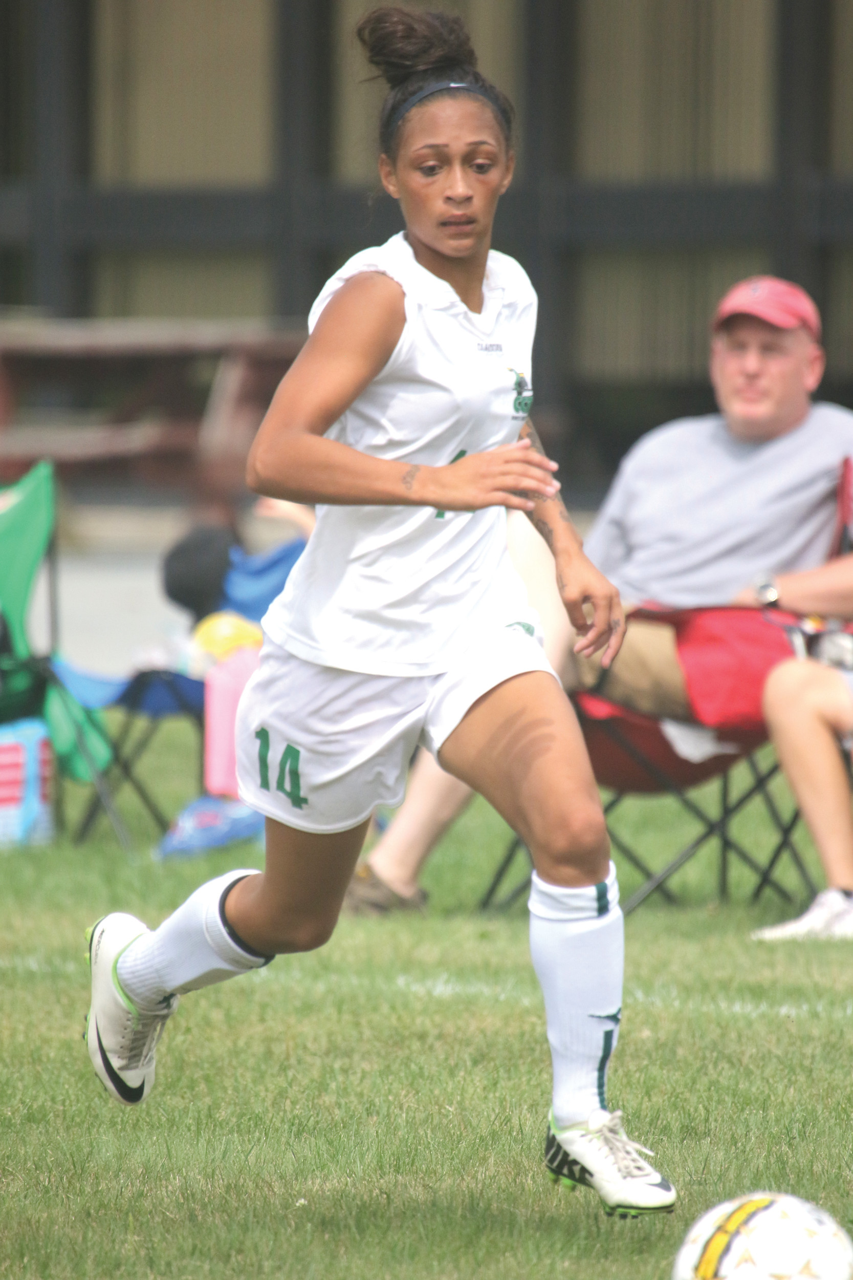 BACK OF THE NET: Mercedes Faust scored twice for the Lady Knights.