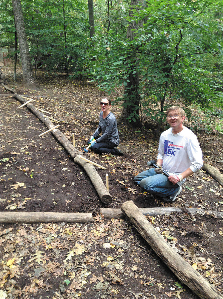 AIPSO volunteers worked in the Blackstone Parks Conservation District to mend fences and weed out invasive plants
