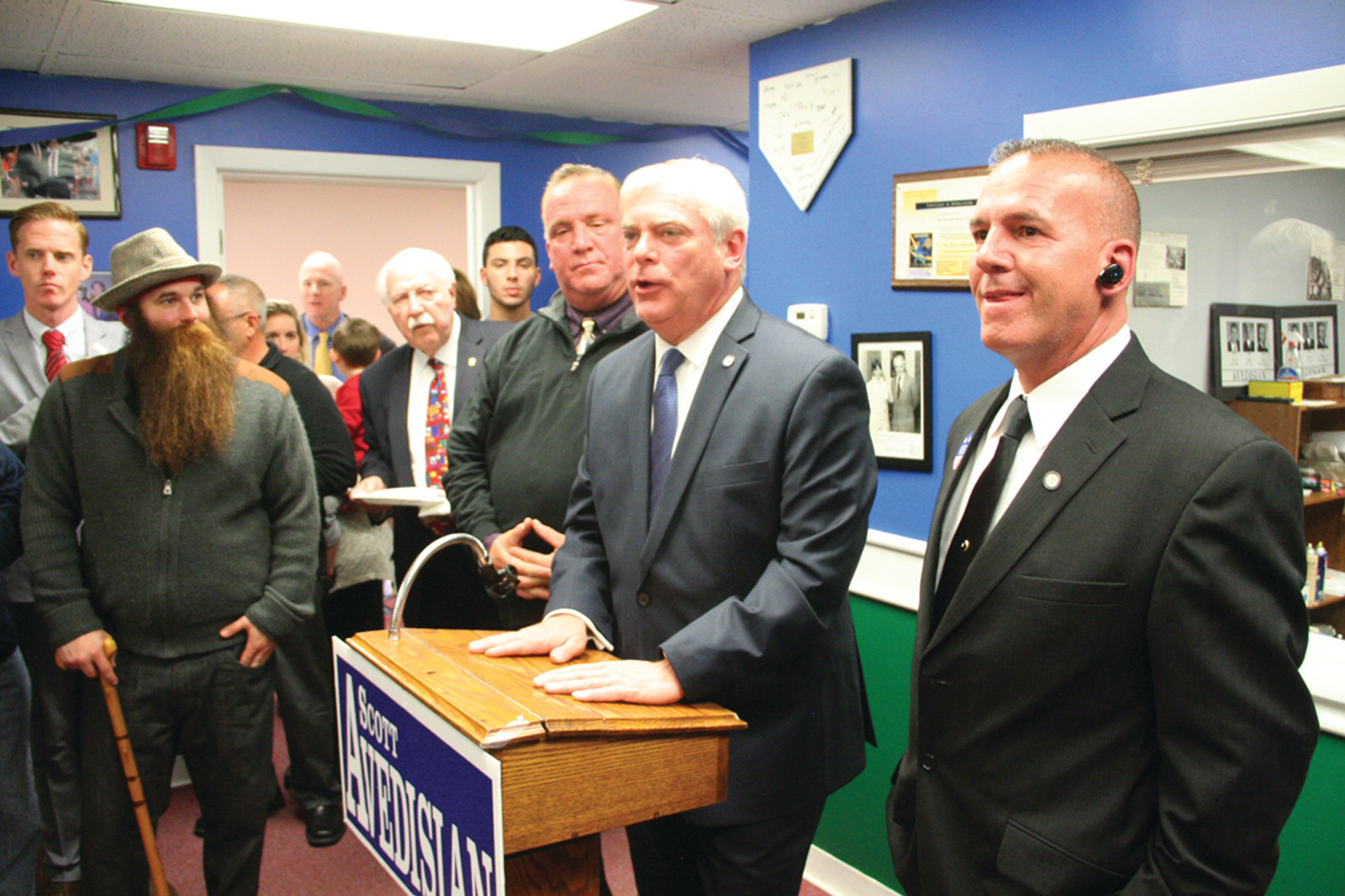 APPLAUDING CITY WORKERS: In his victory speech, Mayor Scott Avedisian recognized city workers for their efforts in serving the citizens of Warwick. He is flanked here by Ward 2 GOP candidate John Silvaggio, Ward 1 candidate Richard Cascella, and House District 21 candidate Mike Penta.