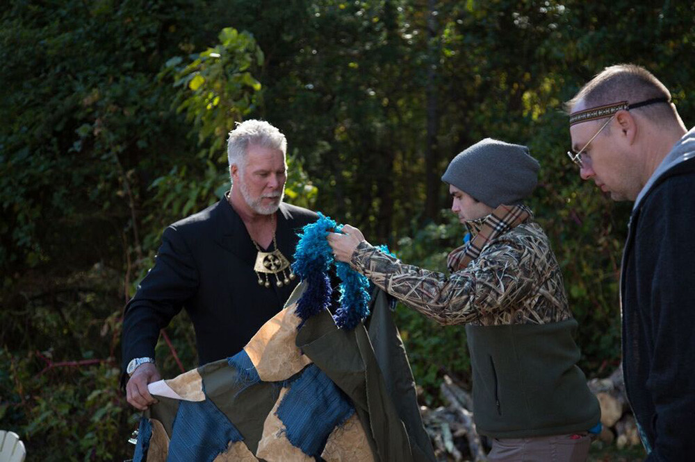 Actor Kevin Nash and producer Tommy DeNucci gear up for a take.