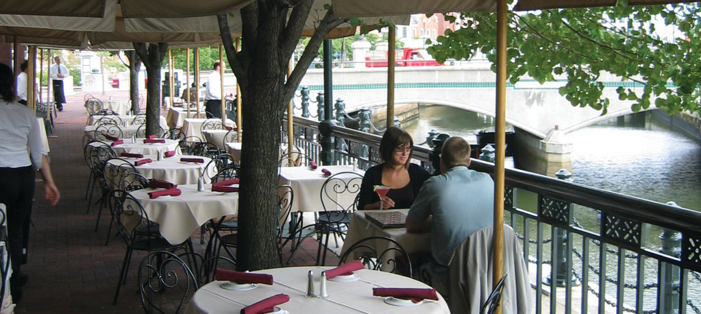 Cafe NuovoWorld-class contemporary American cuisine served on the Providence Riverwalk. Enjoy generous cocktails, heavenly entrees, appetizers and desserts while the river rolls by at one of many outdoor tables. 1 Citizens Plaza, Providence. 421-2525