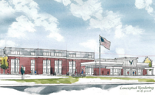 A rendering of the new middle school in Barrington.