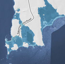 Shaded blue areas show sections of Little Compton underwater in a 10-foot sea rise (NOAA image).