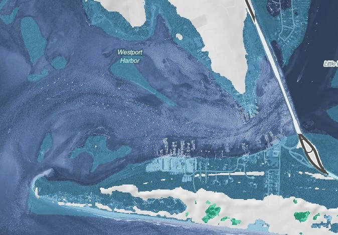 A NOAA image depicts large sections of Westport awash (blue-shaded area) in a 10-foot sea rise.