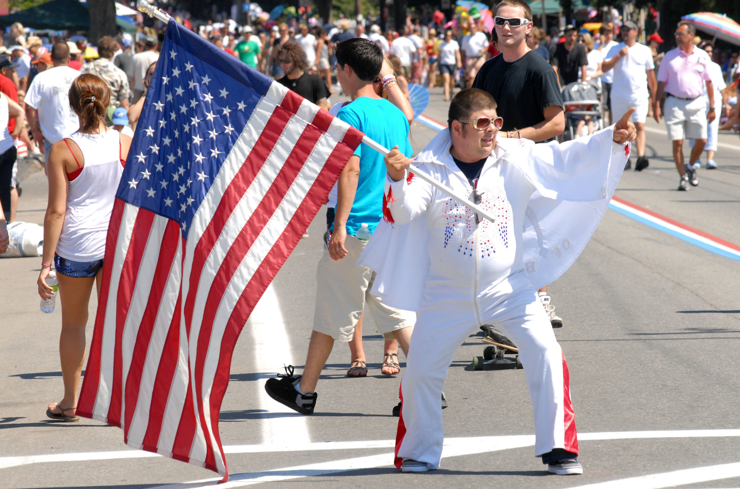 """Elvis, King of Bristol,"" aka Michael Paiva, impersonates his namesake during a past Bristol Fourth of July Parade."