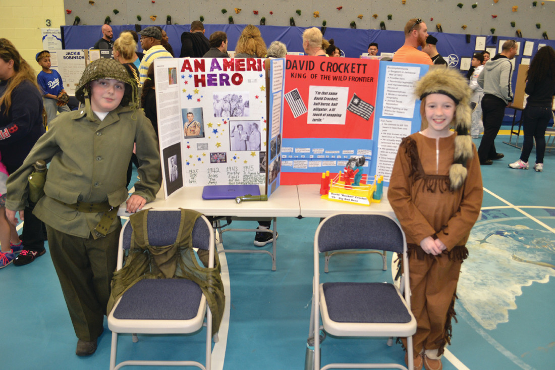AMERICAN HEROES: Rory Deshaies focused his project on Audie Murphy, while Kenzee Silva played Davy Crockett.