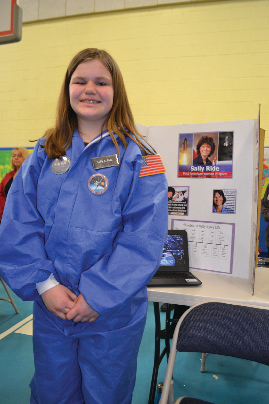 RIDE SALLY RIDE: Georgie Cardullo chose physicist and astronaut Sally Ride, the first American woman in space, for her project.