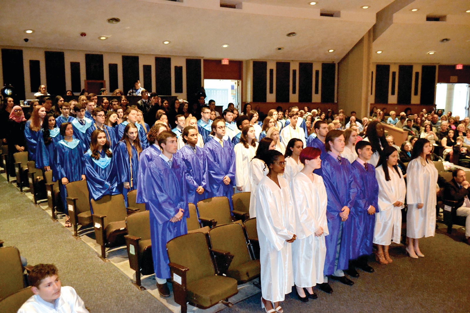 SWEARING IN: The 75 students in this year's National Honor Society at Johnston High School pledged to seek the truth, hold scholarly habits, engage in worthy service and advance the welfare of the school.