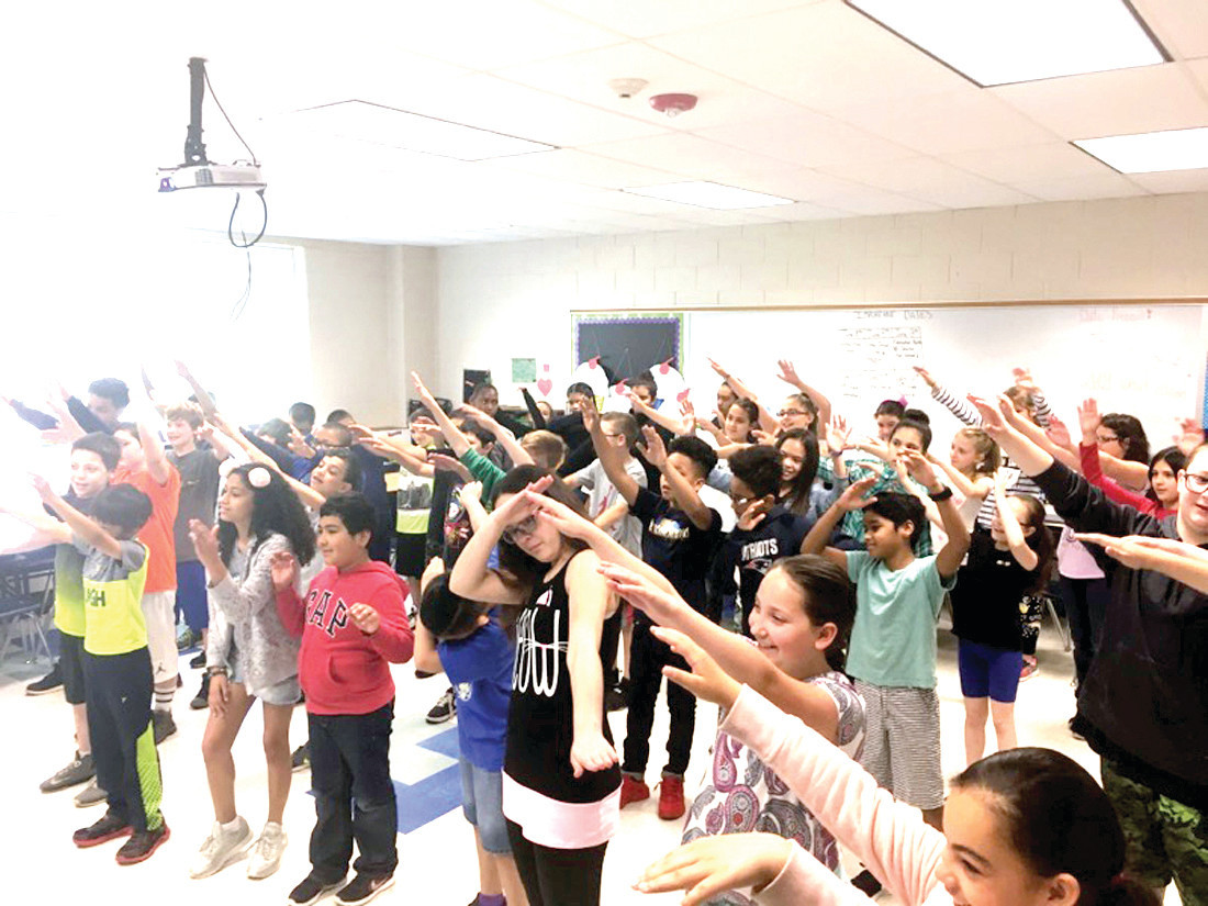 A DAB WILL DO: Students got moving to the music as they performed the Dab, the latest dance craze.