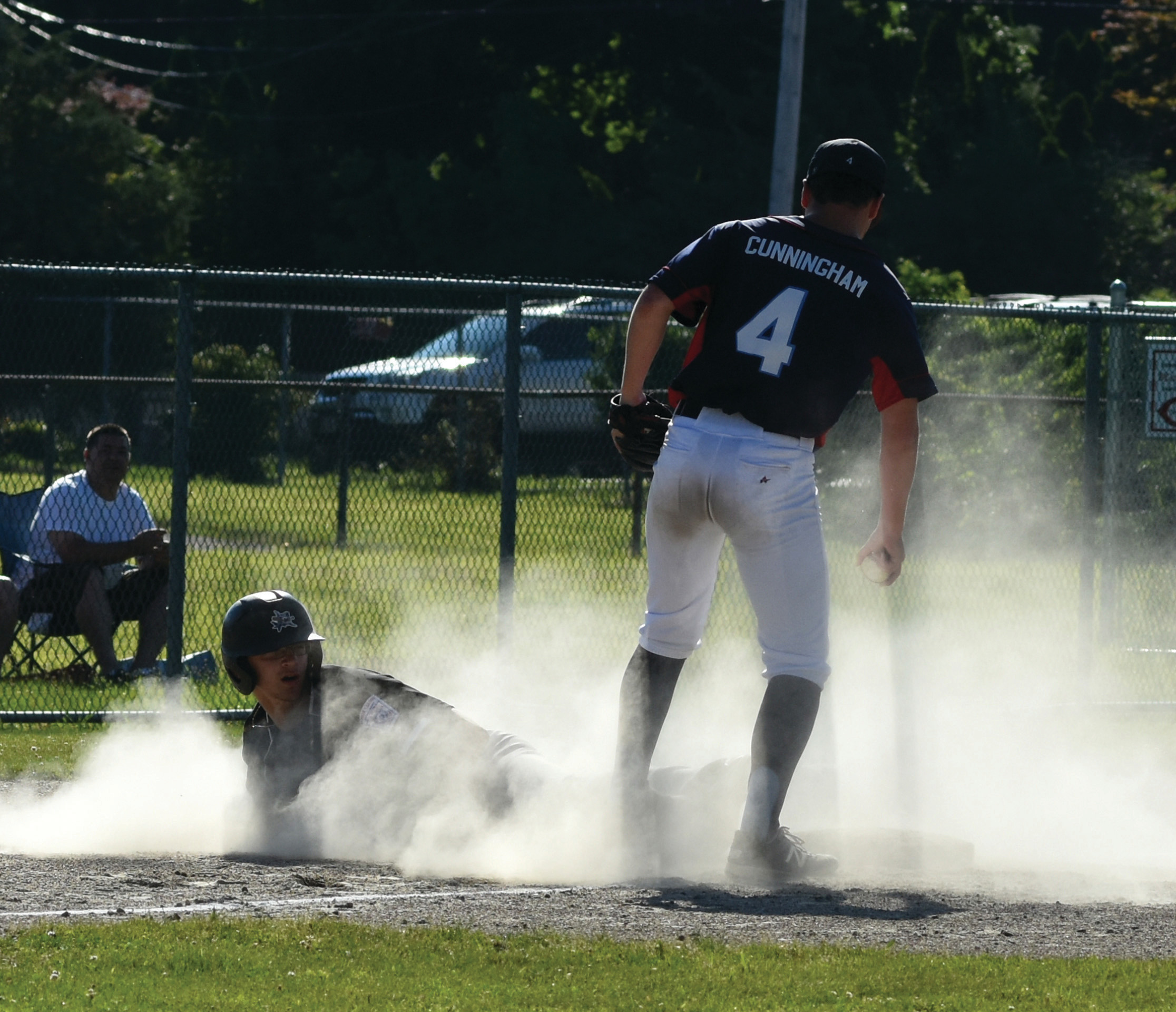Matt Loffredo slides safely into third.