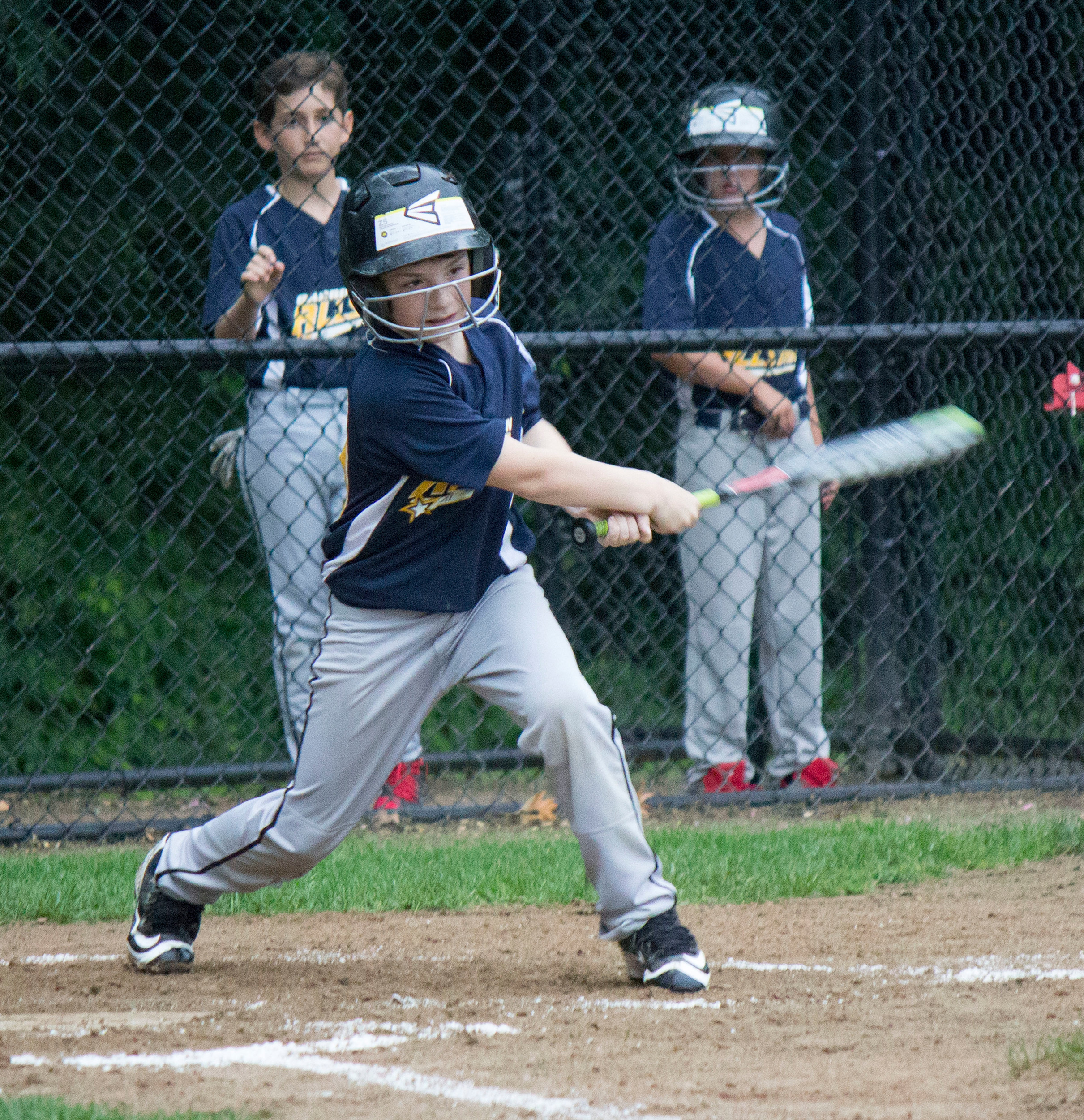 Barrington's Lucas Tanous hits the ball during a 9-10 Minors All Star game against Warren on Wednesday.