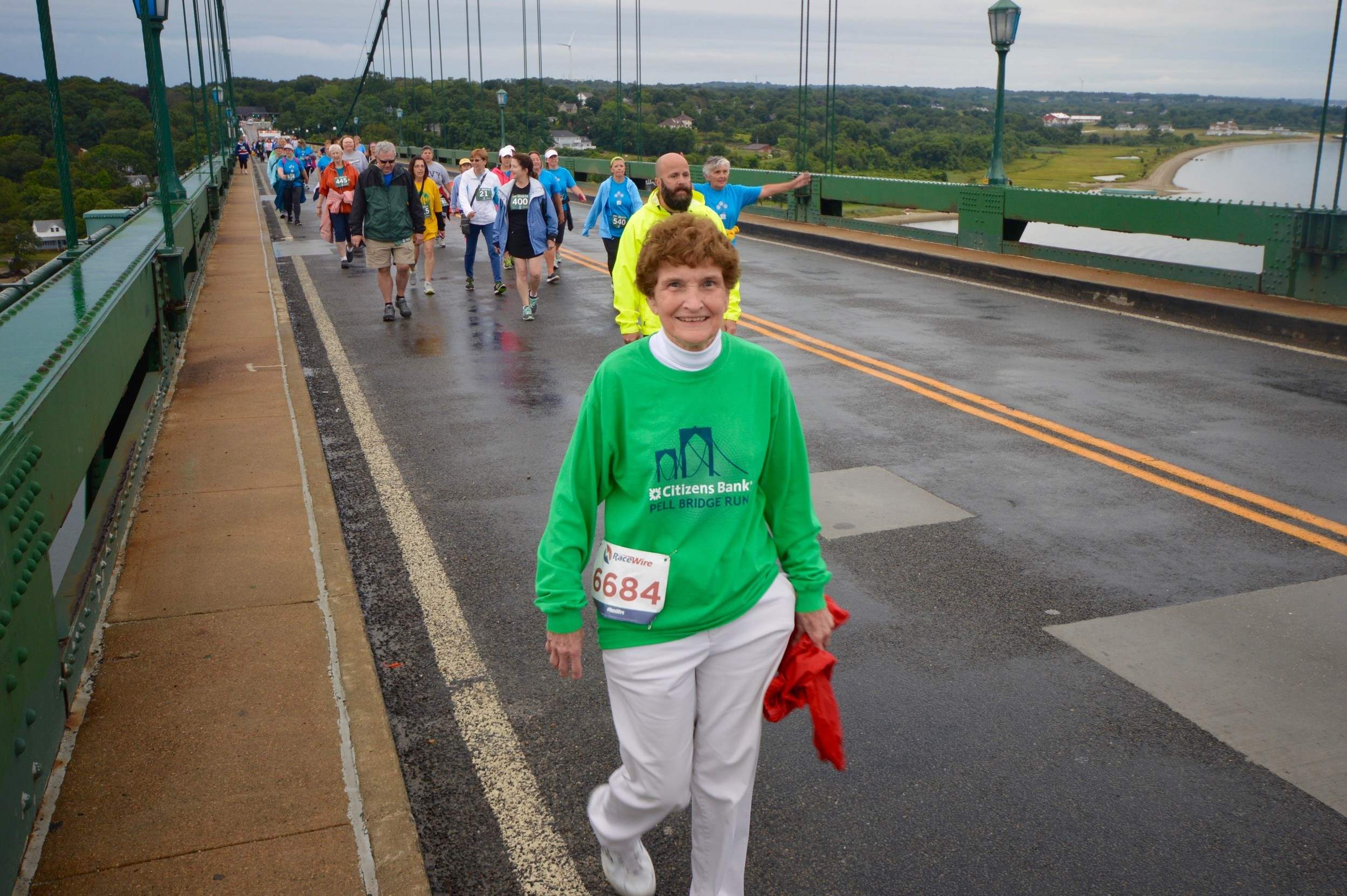 Having just left the Portsmouth School Department after 42 years, Diana White spent her first day of retirement Saturday morning on top of the Mt. Hope Bridge.