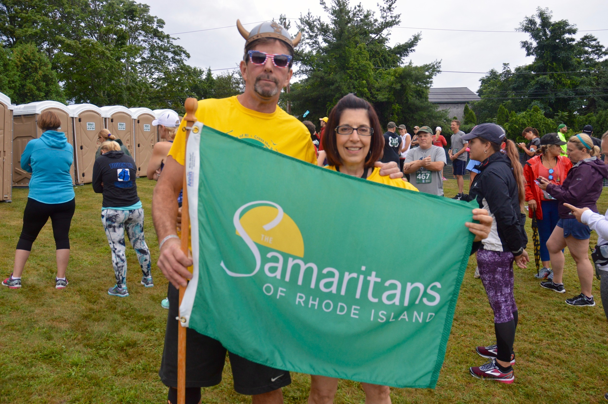 Bryan Ganley and Denise Panichas, executive director of the Samaritans of Rhode Island, just before the race.