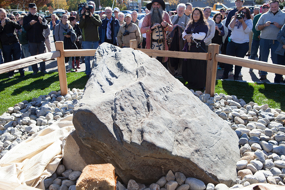 Crowds gathered to witness the unveiling of the Rune Stone's new home and ponder over its mysterious origins