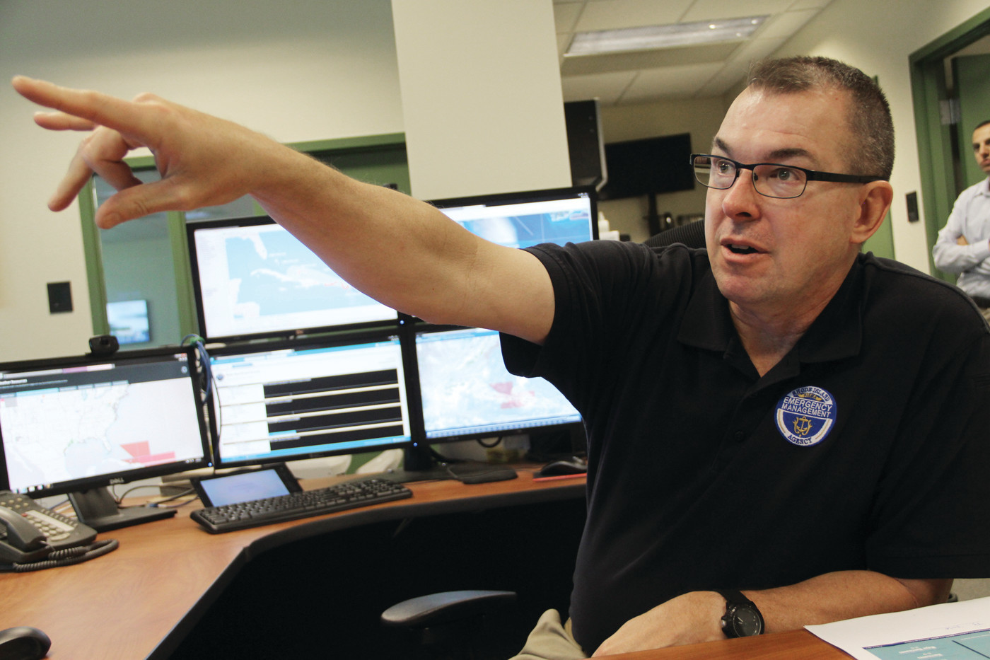 KEEPING TABS: Peter Gaynor, Director the Rhode Island Emergency Management Agency (RIEMA) at headquarters on Tuesday.