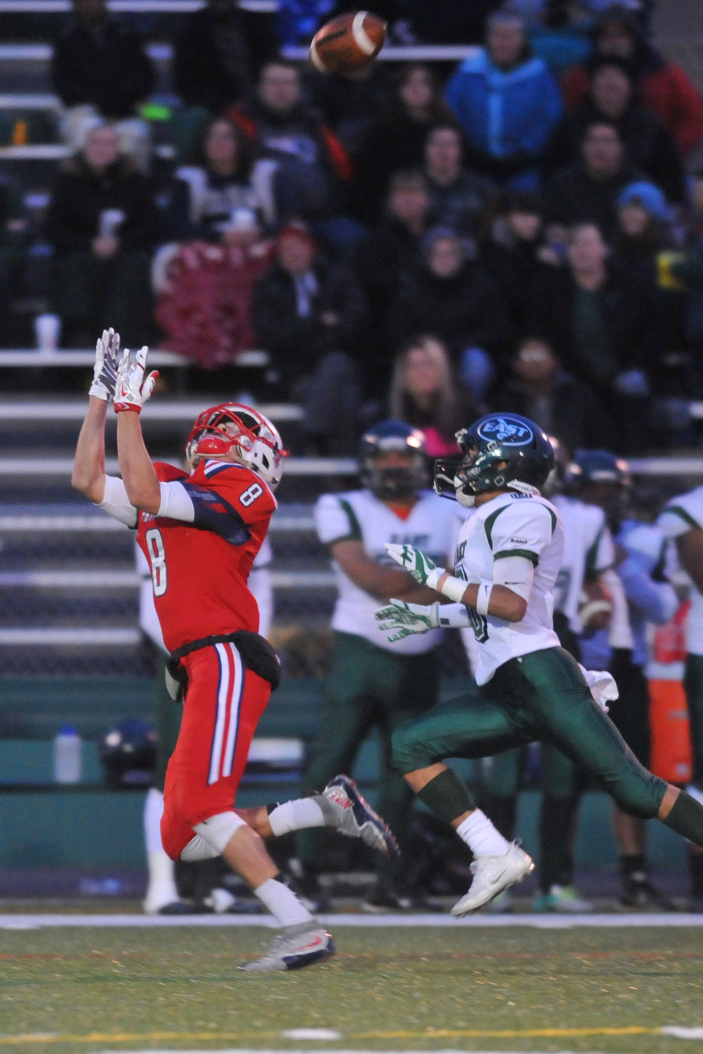 Portsmouth receiver Peyton Robinson hauls in a bomb from Kyle Bicho during the first quarter of Saturday's Division I championship game.