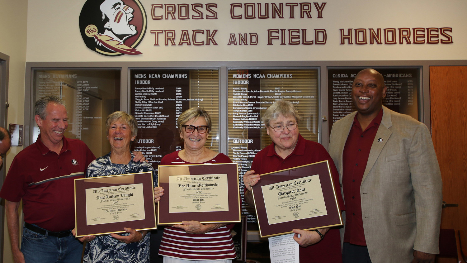 Barrington's Margaret Kane was recently recognized as an All-American track and field athlete at Florida State. Pictured are (from left to right) Florida State track & field coach Bob Braman, Avis Latham Vaught, Lee Anne Wojtkowski, Ms. Kane and FSU Vice President/Director of Athletics Stan Wilcox.