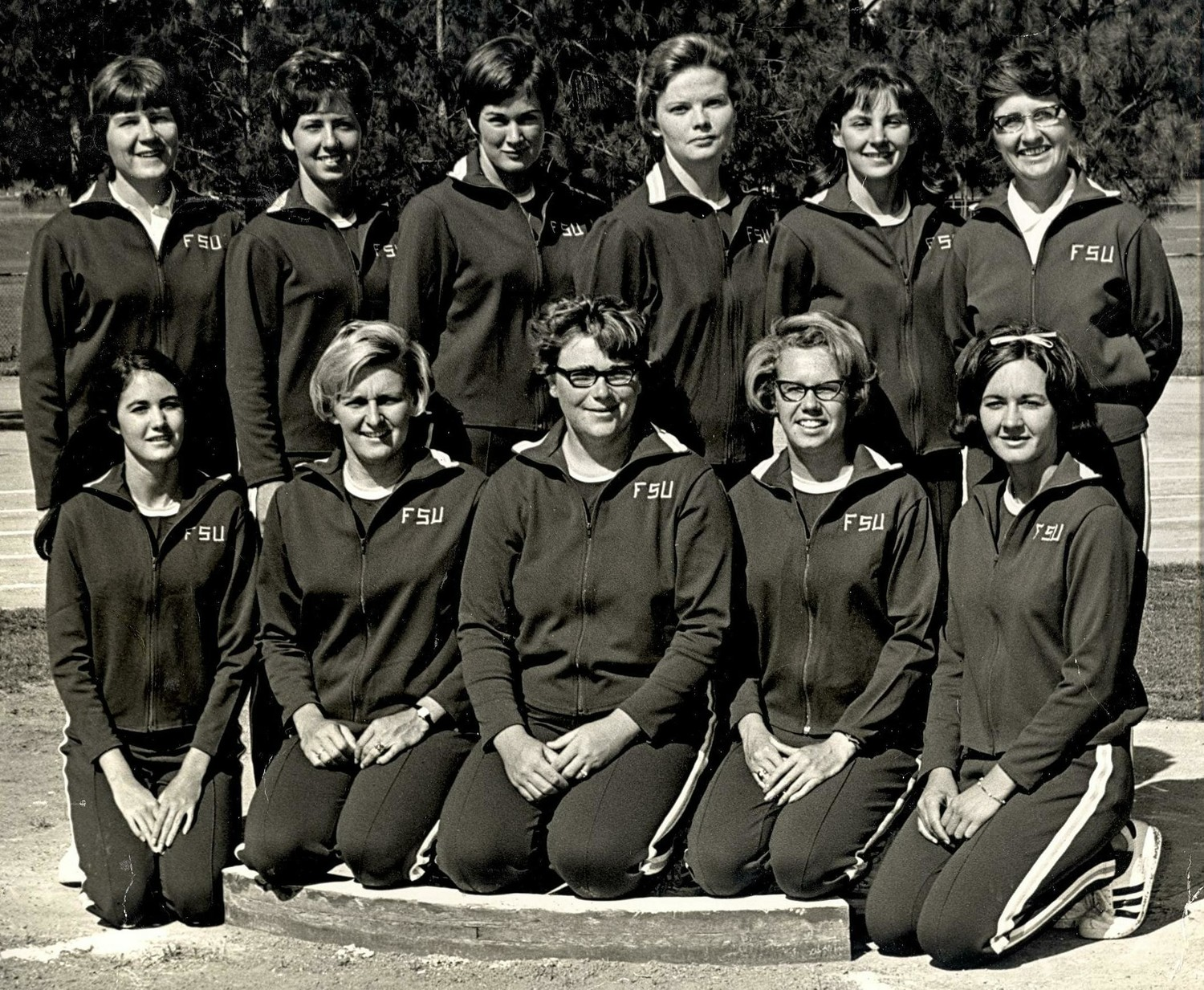 Members of the 1969 Florida State women's track and field team pose for a photograph. Barrington's Margaret Kane (front row, center) threw the shot put, javelin and discus for the Seminoles.