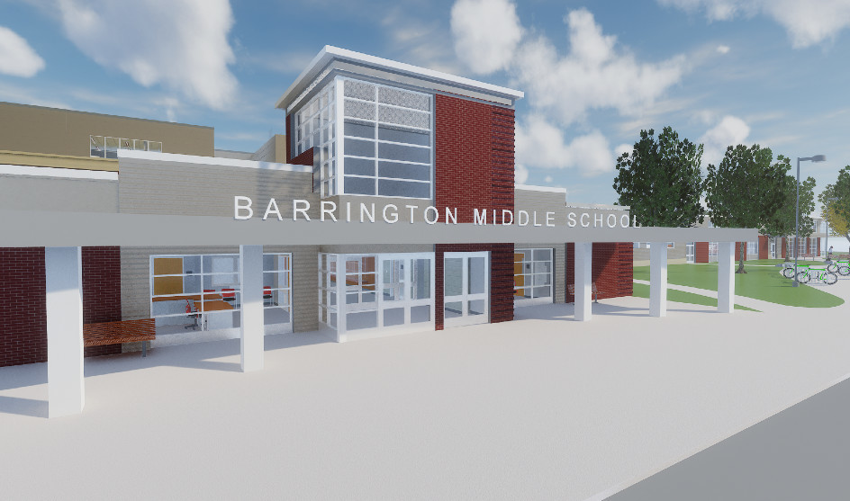 A rendering of the new Barrington Middle School.