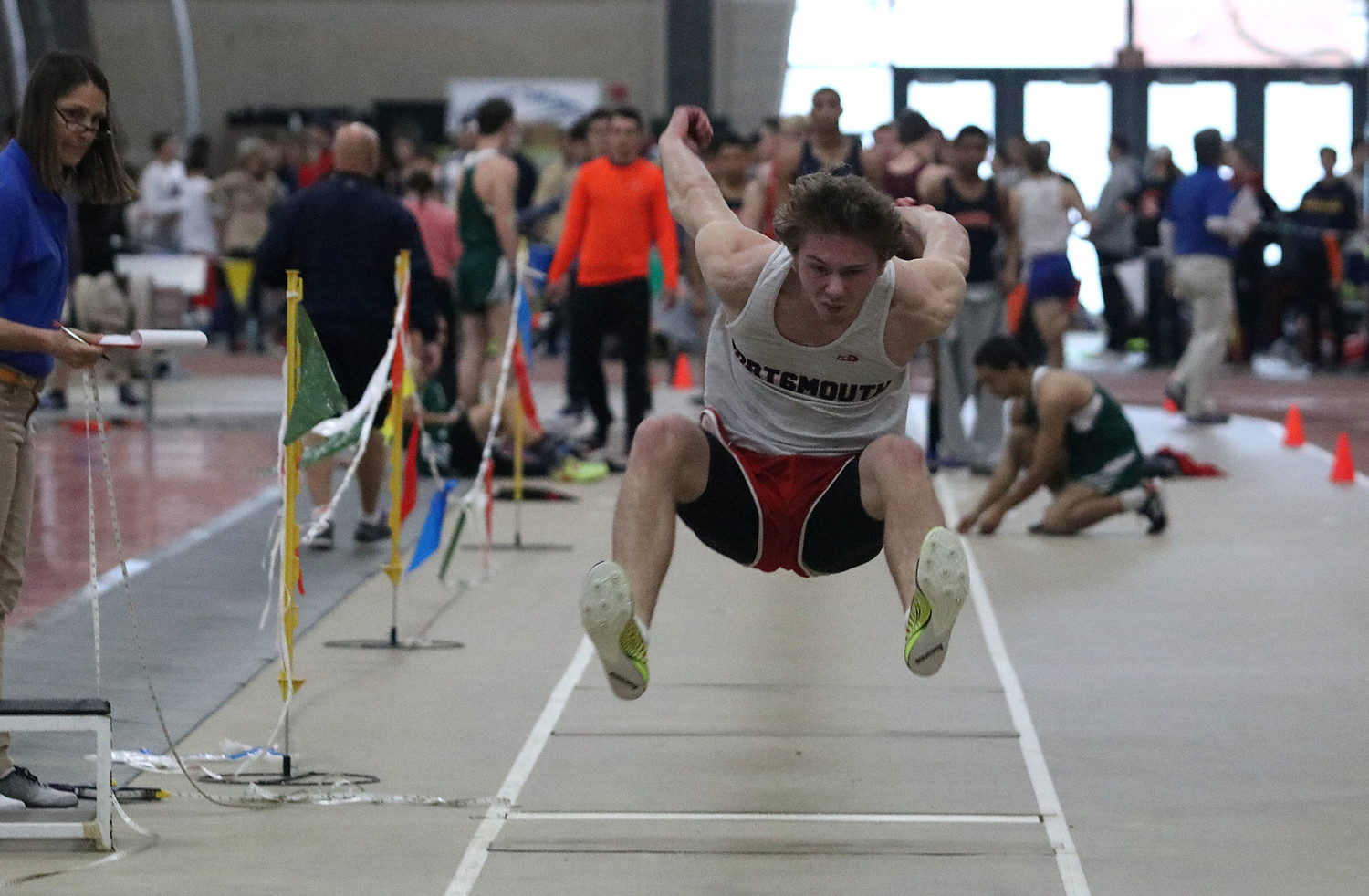 Martin Lasky gets set to land during the long jump.