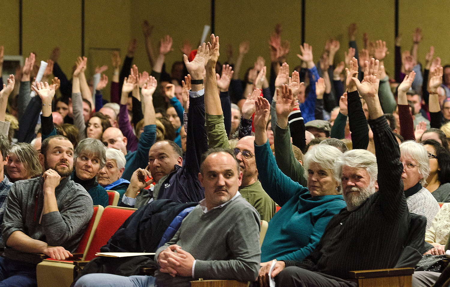 "A large Westport crowd voted ""by clear two thirds majority,"" declared Town Moderator Steven Fors, to approve construction of a new $97 million grade 5-12 school at Tuesday night's special town meeting."