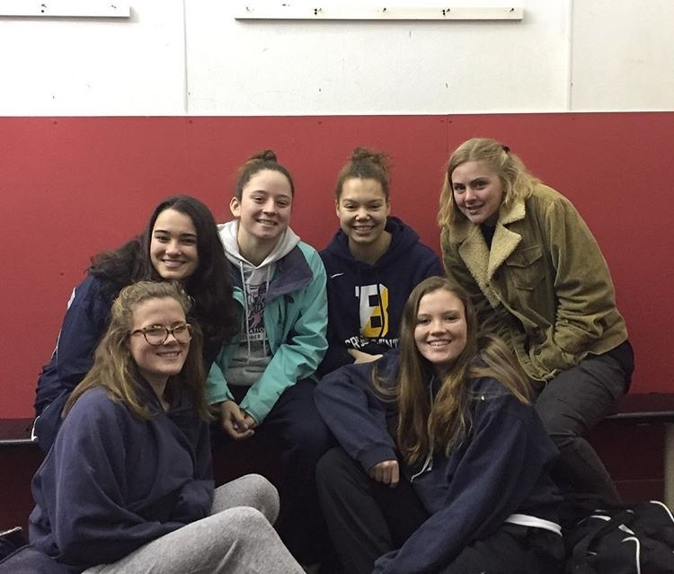 Pictured are members of the East Bay co-op girls hockey team — (from left to right) Emma Hladick of Portsmouth, Grace Flaherty of Barrington, Carrie Rego of Mt. Hope, Sydney Parkhurst of Barrington, Kelly Gerdin of Portsmouth, and Mary Arkins of Portsmouth.