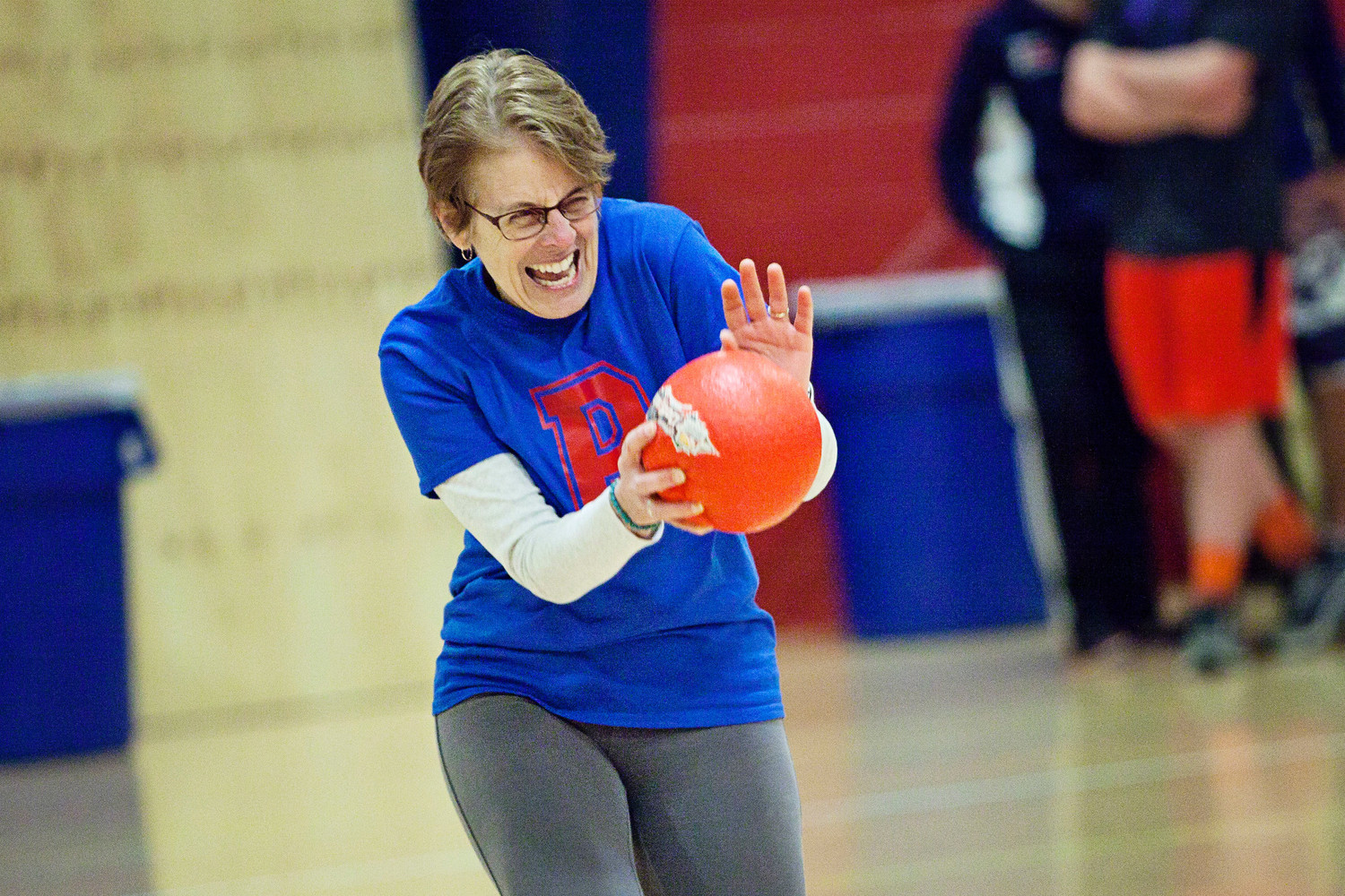 School Committee Chairwoman Terry Cortvriend, a member of The Hard Targets, flinches as a ball comes toward her.