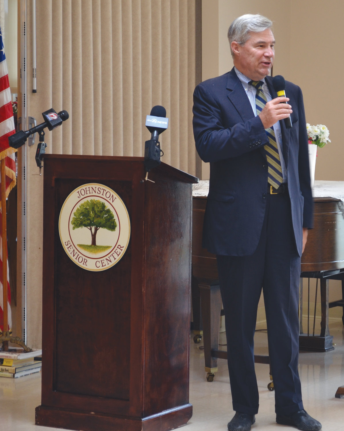 PAYING A VISIT: U.S. Sen. Sheldon Whitehouse dropped by the Johnston Senior Center on Wednesday morning to discuss legislation that would require an annual 3-percent Social Security cost-of-living adjustment, or COLA.