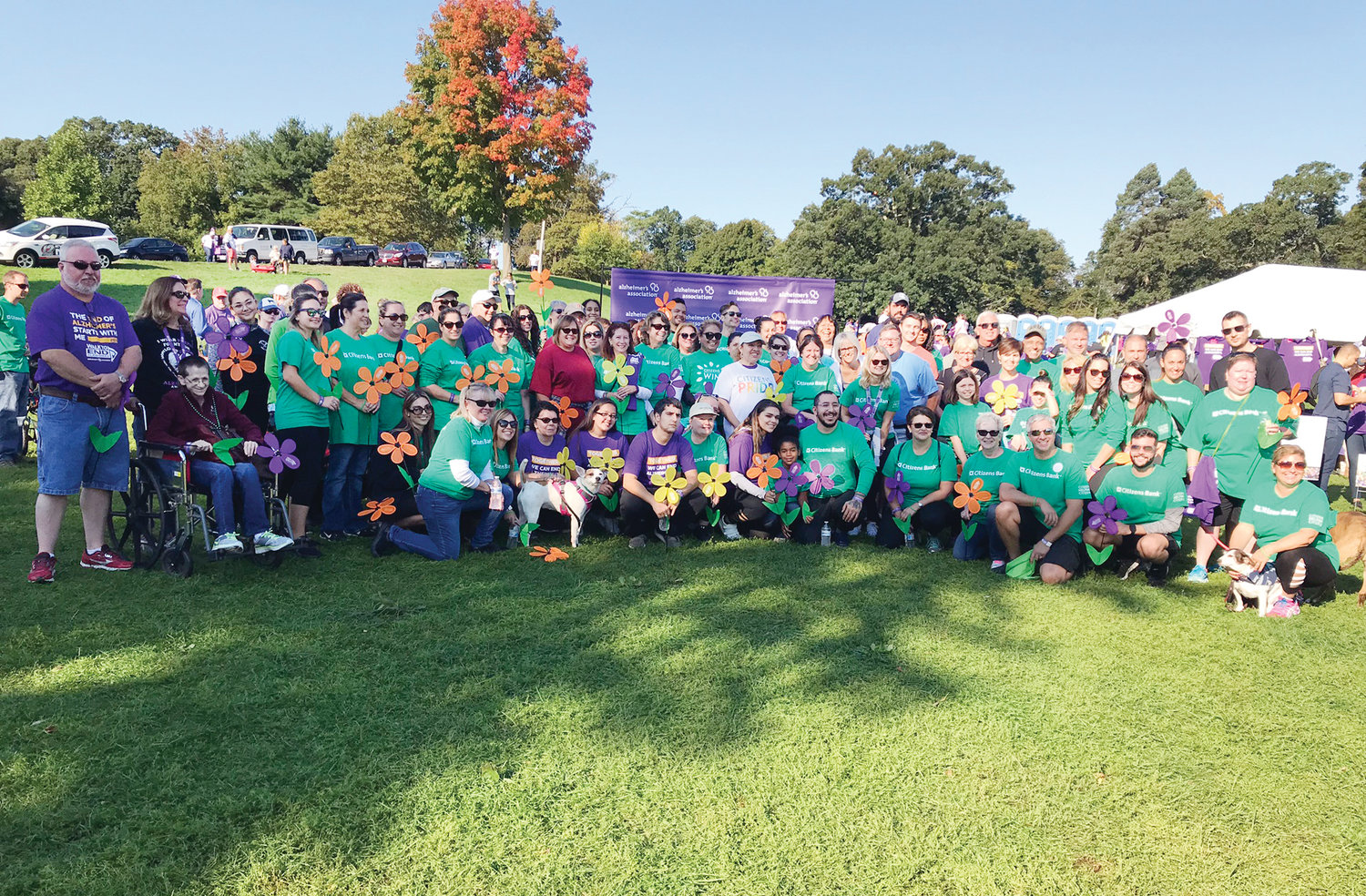 TEAM EFFORT: Members of the Citizens Bank team gather together during the 2018 Providence Walk to End Alzheimer's.