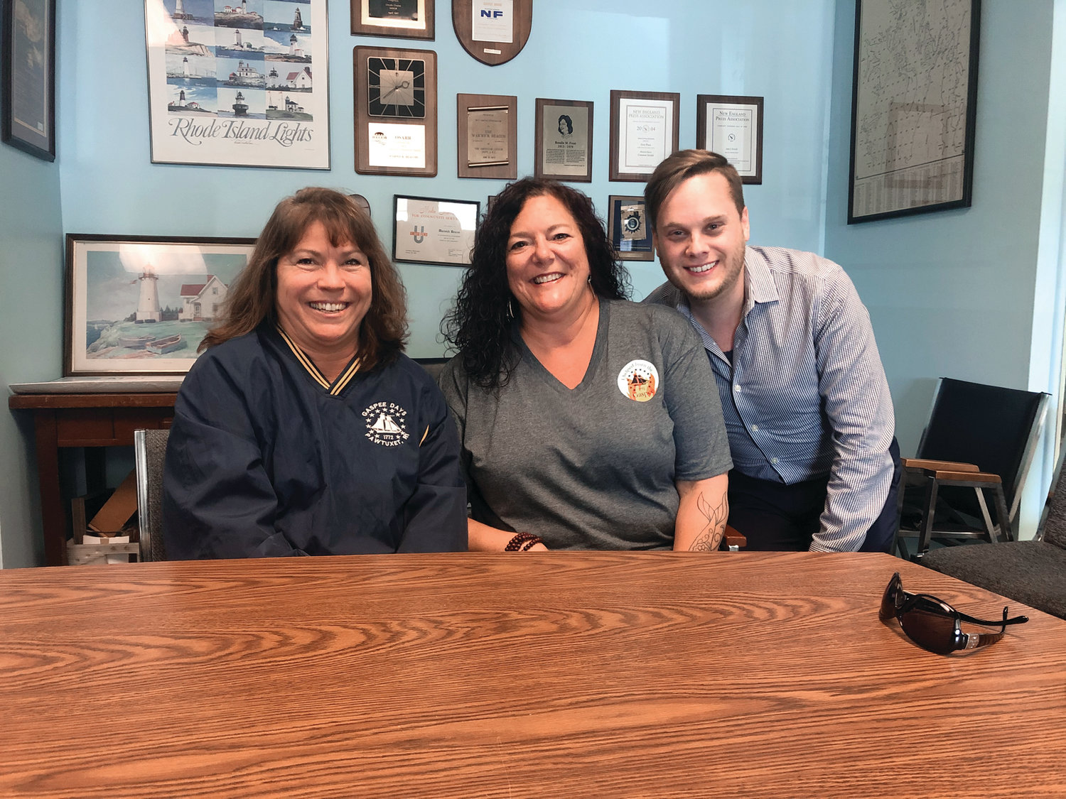 IN THE WORKS: From left to right, Gaspee Days Committee President Gina Dooley, organizer Karen Kenney and past president Ryan Giviens spearheaded the effort to hold the first-ever Gaspee Fall-Out, coming to Pawtuxet Park on Oct. 12 from noon to 5. The event will feature several food vendors, beer tastings and entertainment, all with free admission.
