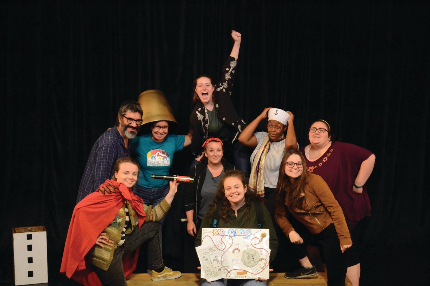 "CAST OF MATEYS: Director Dave Rabinow, Gamm teaching artist and production stage manager Jessica Corsentino (middle) and the cast of ""Judy Moody & Stink: The Mad, Mad, Mad, Mad Treasure Hunt,"" which includes Tyra Wilson, Ava Mascena, Alexis Ingram, Cassidy Mccartan, Kelly Robertson, Maggie Papa and Olivia Winters."
