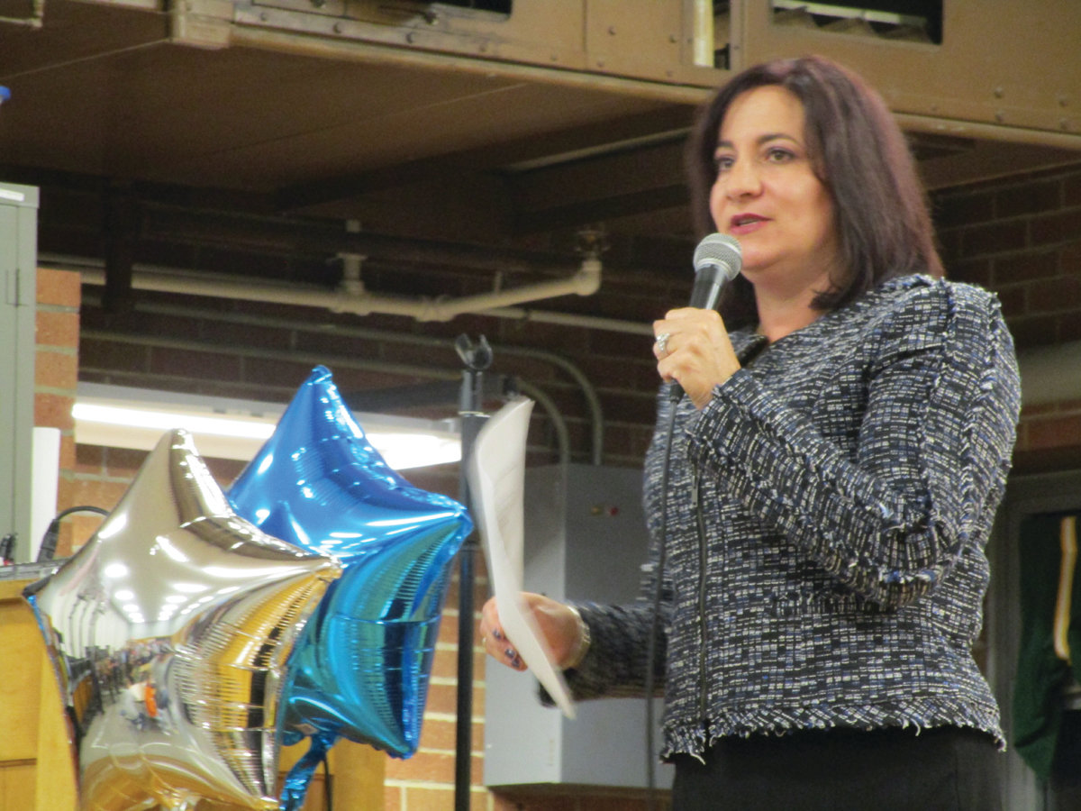 WARM WELCOME: Superintendent Jeannine Nota-Masse welcomes visitors to the Oct. 16 open house at Eden Park Elementary School.