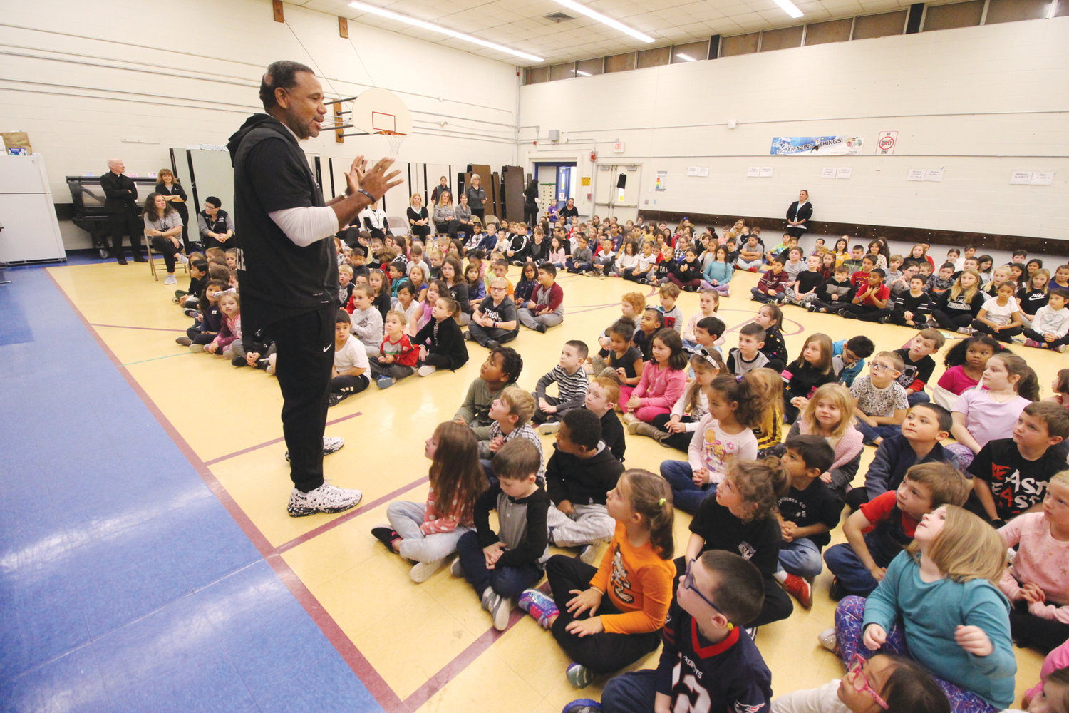FOLLOW YOUR PASSION: PC Coach Cooley delivered an inspirational message to Norwood students Monday. Cooley asked to visit the school where Patti Shanley teaches.
