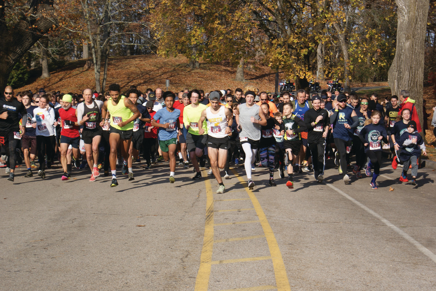 AND THEY'RE OFF! Approximately 600 people took part in Monday's seventh annual Park View Veterans Day 5K.