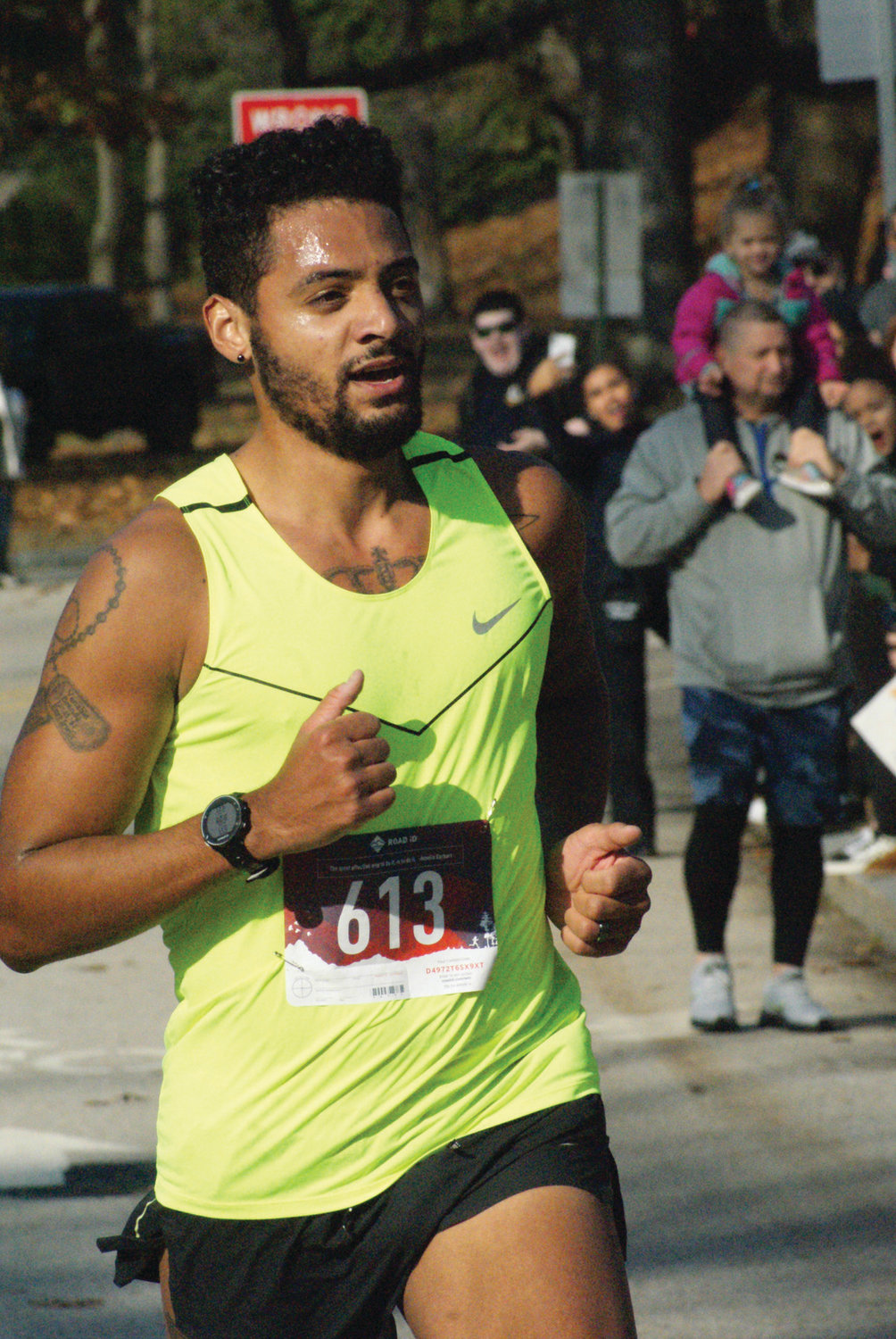 CROSSING THE LINE: Bronson Venable of Warwick won the Park View Veterans Day 5K with a time of 15 minutes, 35 seconds. It is the third year in a row he has taken top honors.