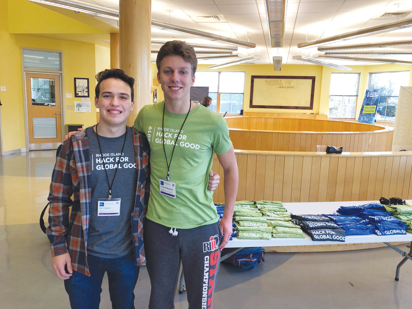 FOUNDERS: Rocky Hill students Ben Pogocar (left) and Courtlandt Meyerson developed the concept of bringing together students from across the state to hack some real world problems.