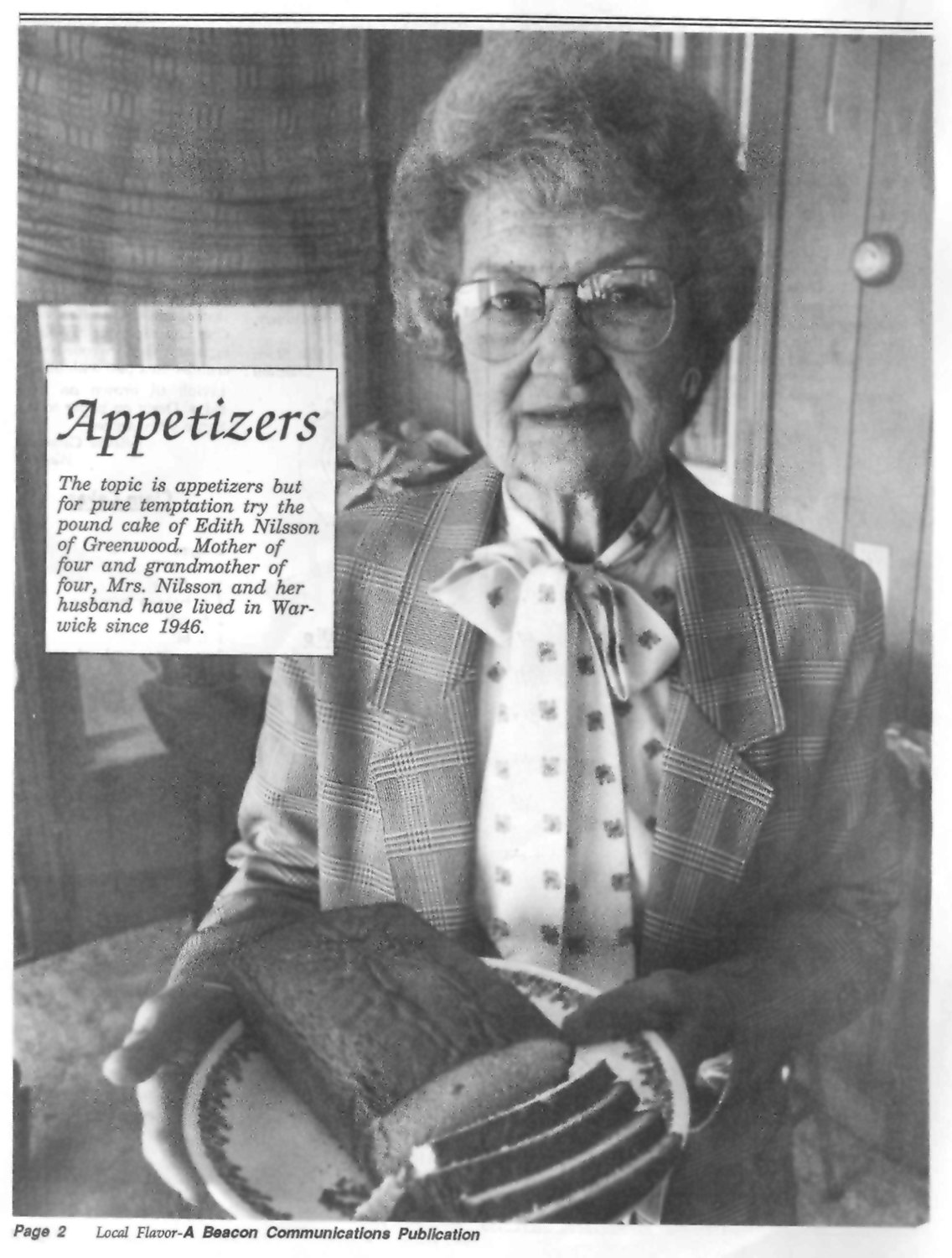 "SOMETHING SWEET: Edith Nilsson of Warwick's Greenwood section was one of the feature contributors in the first ""Local Flavor"" in 1994, sharing her recipe for pound cake."