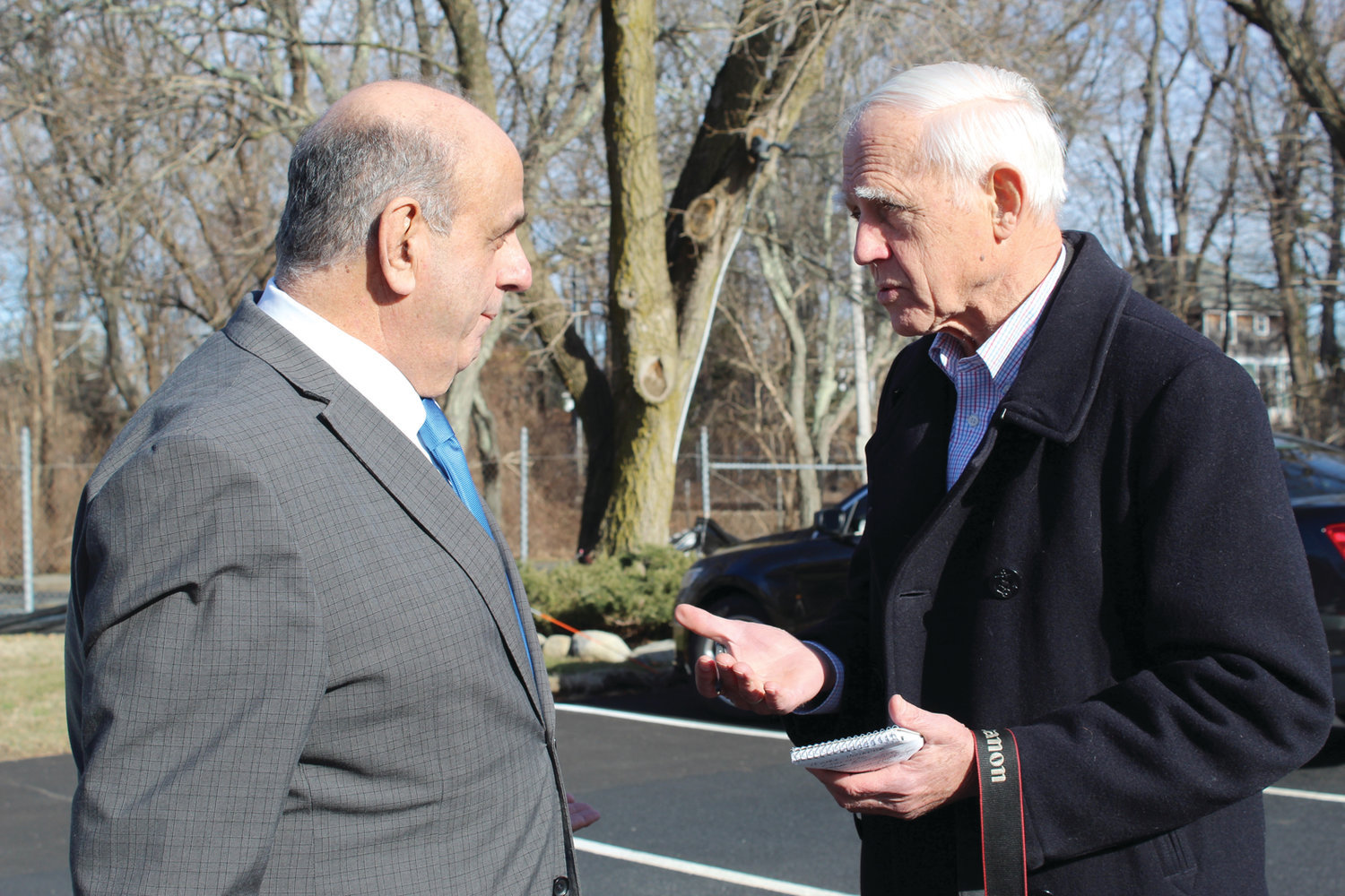 ON THE BEAT: Warwick Beacon publisher and editor John Howell, right, interviews Warwick Mayor Joseph Solomon on Tuesday at Warwick City Hall. Howell, who also publishes the Cranston Herald, Johnston SunRise and Reminder, purchased the Beacon in late 1969.