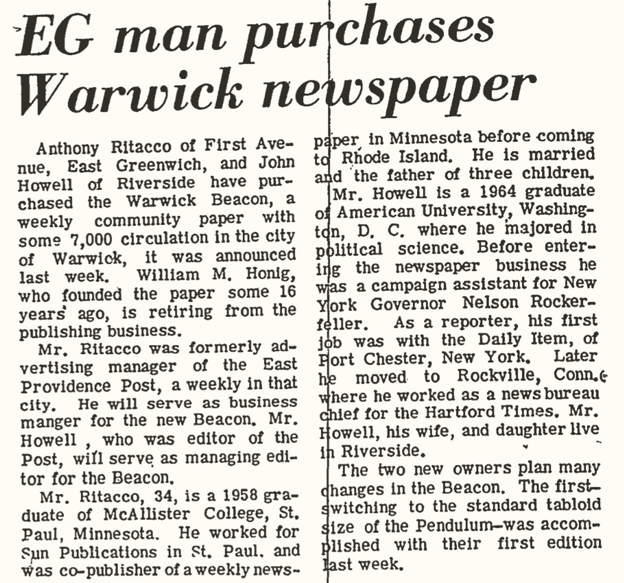 MAKING NEWS: A 1969 clip from the East Greenwich Pendulum announces news of the Warwick Beacon's sale to John Howell and Anthony Ritacco. (Courtesy of John Howell)