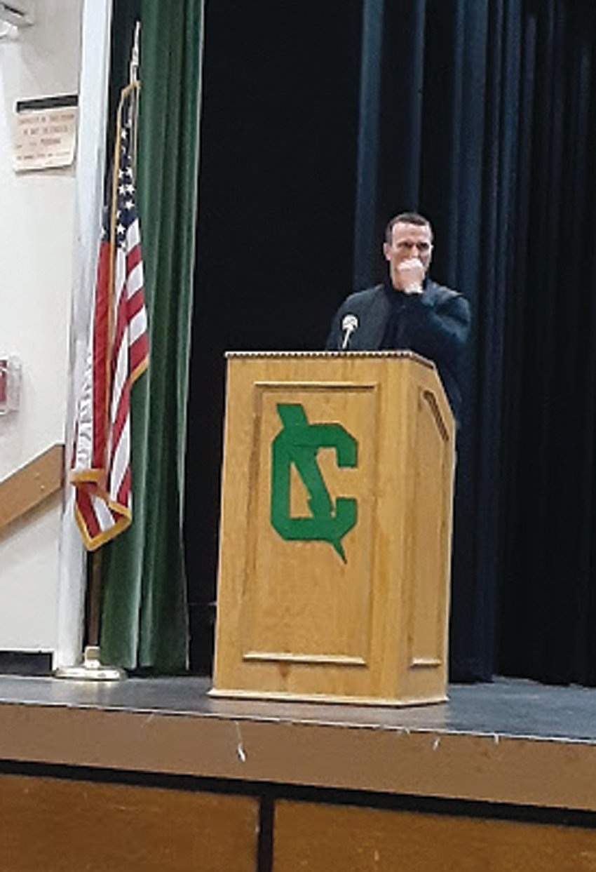 EMOTIONAL EXPERIENCE: Although he's told his story hundreds of times and to millions of people, Fall River native Chris Herren struggled to keep his composure throughout the presentation. He noted that speaking to an audience back at home, with many familiar faces in front of him, was particularly challenging.