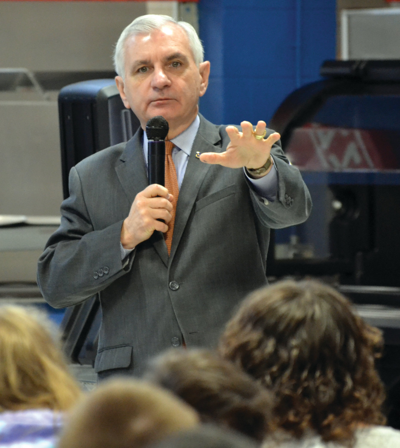 U.S. Sen. Jack Reed stopped by Ferri Middle School on Monday morning to give students background on how the House and Senate operate.