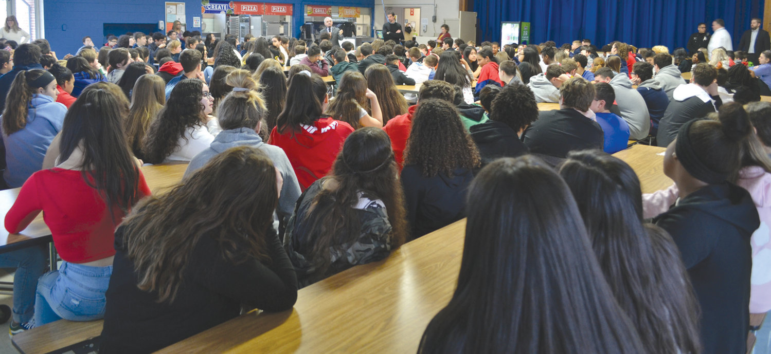 Students packed the Ferri Middle School cafeteria to hear what Sen. Reed had to say.